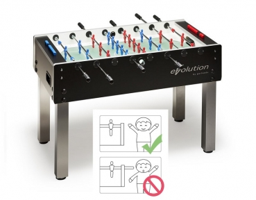 Football Table Garlando G500 Evolution, Glass Playfield, Safety-Rods