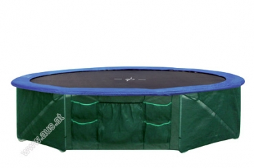 Safety skirt for outdoor trampoline